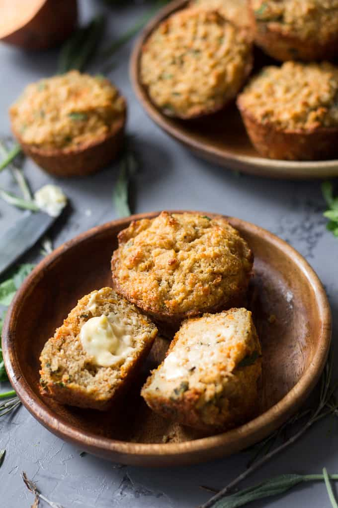 Paleo Herbed Sweet Potato Savory Muffins