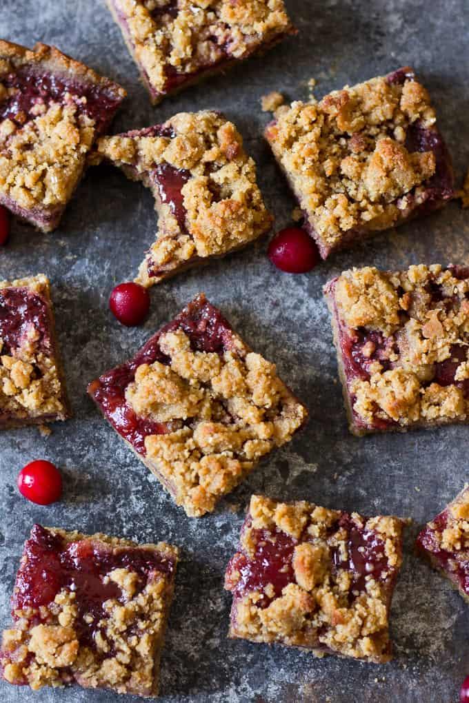 Paleo Cookie Crumb Cranberry Bars