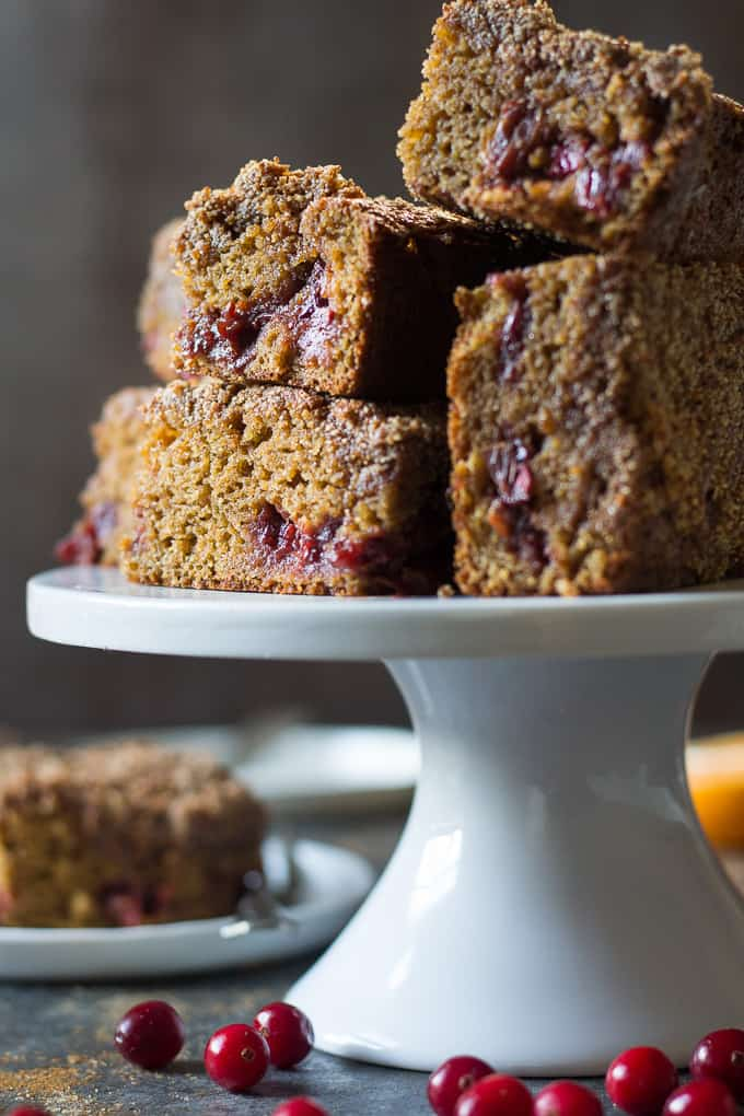thick square slices of cranberry orange coffee cake on a white cake stand