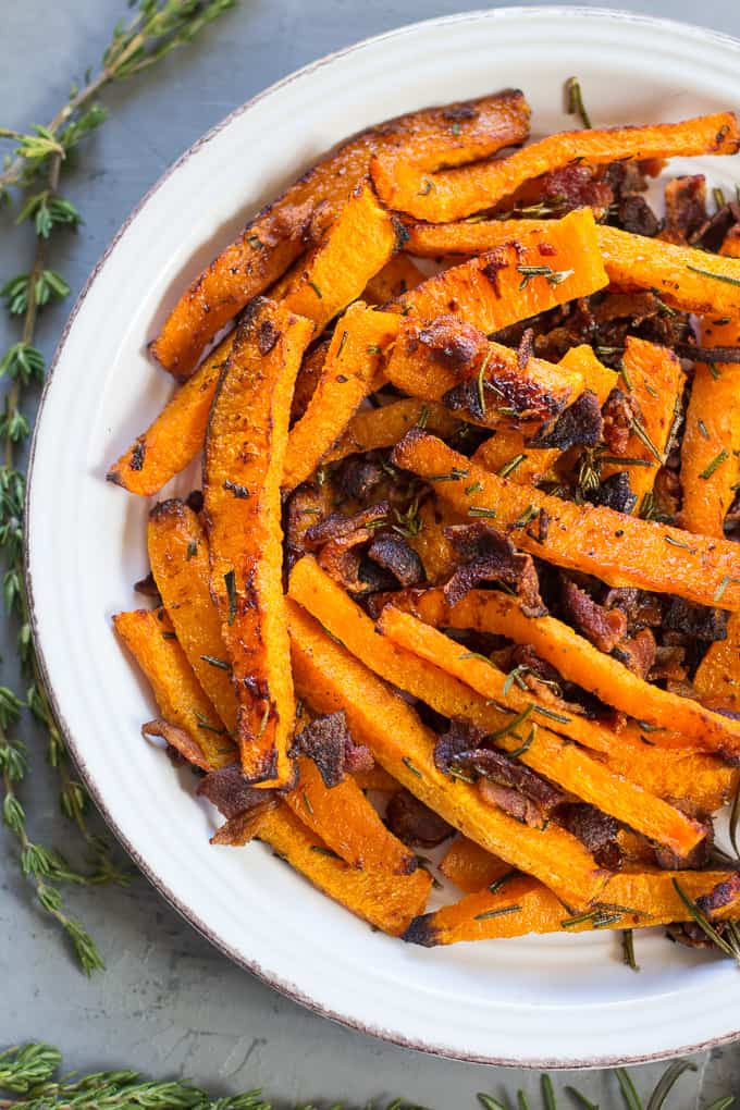 Rosemary Bacon Butternut Squash Fries {Paleo & Whole30}