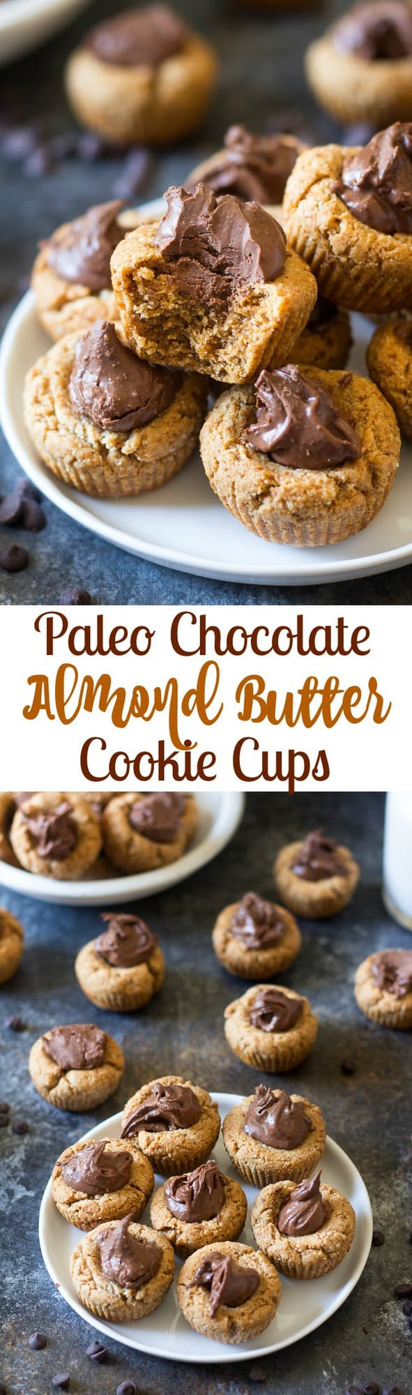 Chocolate Almond Butter Paleo Cookie Cups - chewy almond cookie cup with almond butter fudge filling. Gluten free, grain free, dairy free. #BobsHolidayCheer