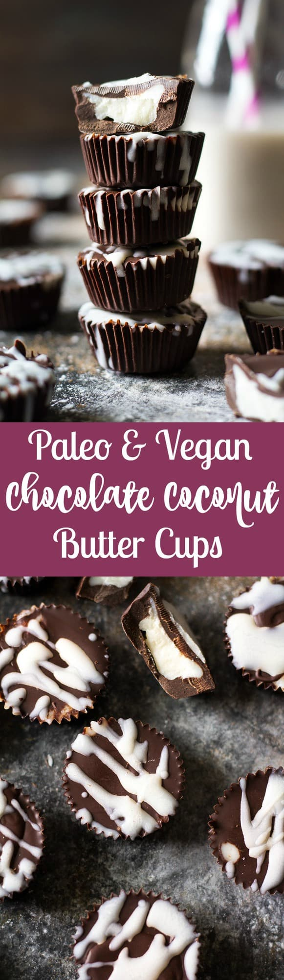 Rich, creamy and sweet Easy Chocolate Coconut Butter Cups that give you a healthy way to eat your chocolate candy!  They're Paleo, vegan, dairy free and refined sugar free.