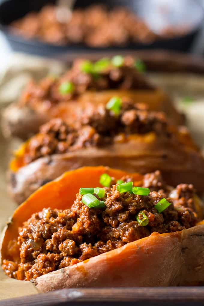 Easy Paleo Chili Stuffed Sweet Potatoes {Whole30}