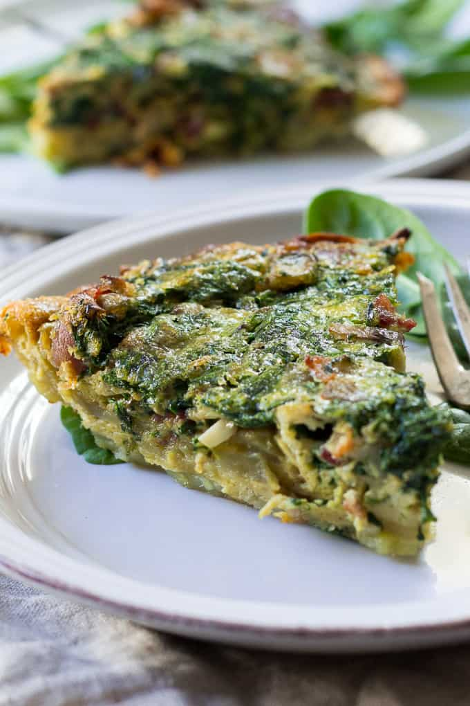 Paleo & Whole30 Spinach Quiche with Bacon Mushrooms and Onions