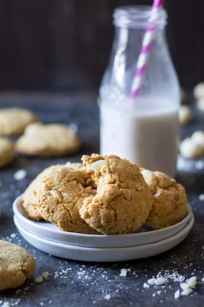 Soft Paleo Coconut Macadamia Nut Cookies