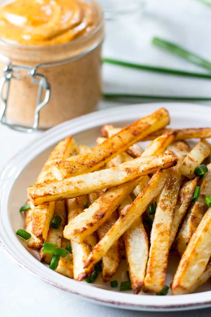 Baked French Fries with Chipotle Ranch Dip {Paleo & Whole30}