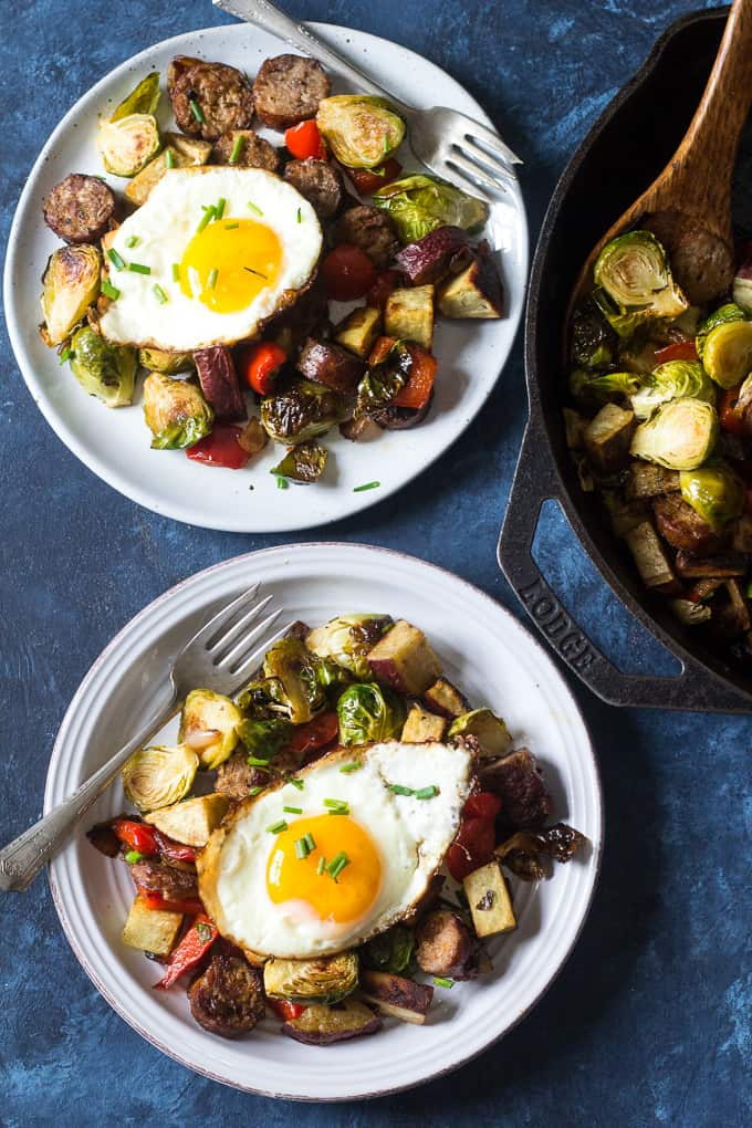 This Whole30 and paleo sausage sweet potato veggie skillet is easy to make, great for lunch, dinner or topped with fried eggs for breakfast!