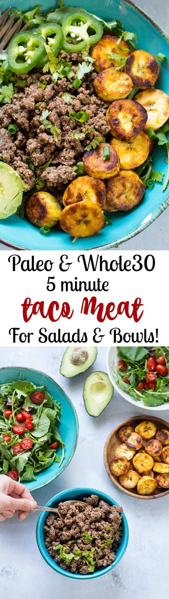 Easy 5 minute Paleo taco meat that's perfect for quick taco salads, bowls, or wraps. Whole30 friendly and great for busy families for weeknight dinners!  Works great to make ahead of time during meal prep too.