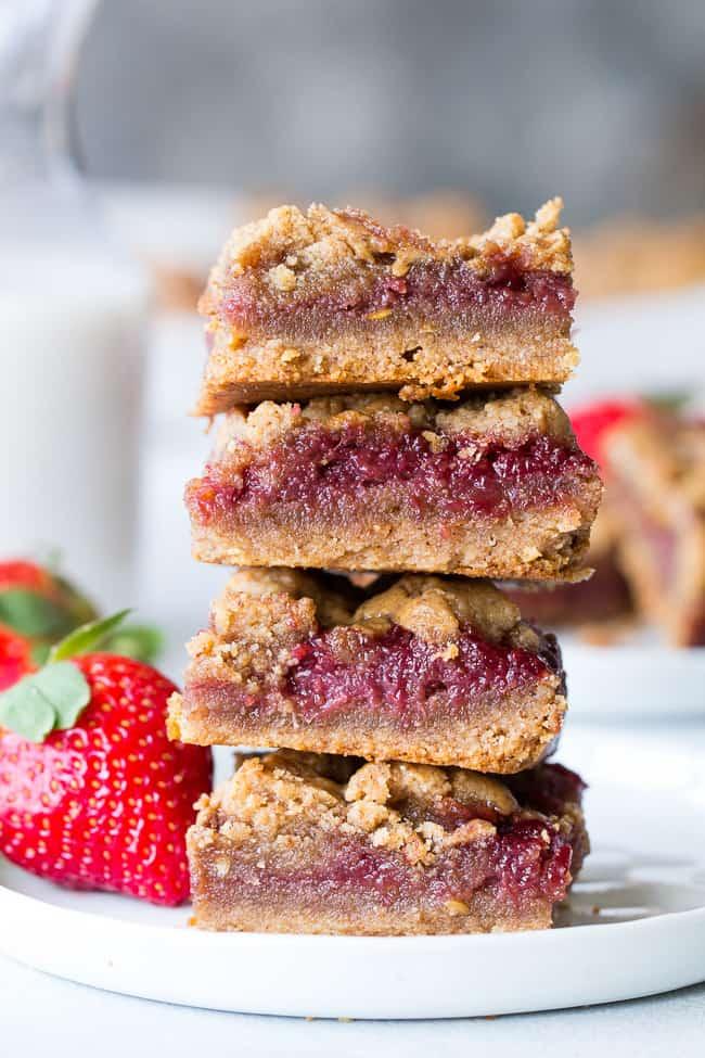 Almond Butter & Jelly Cookie Bars {Paleo & Vegan}