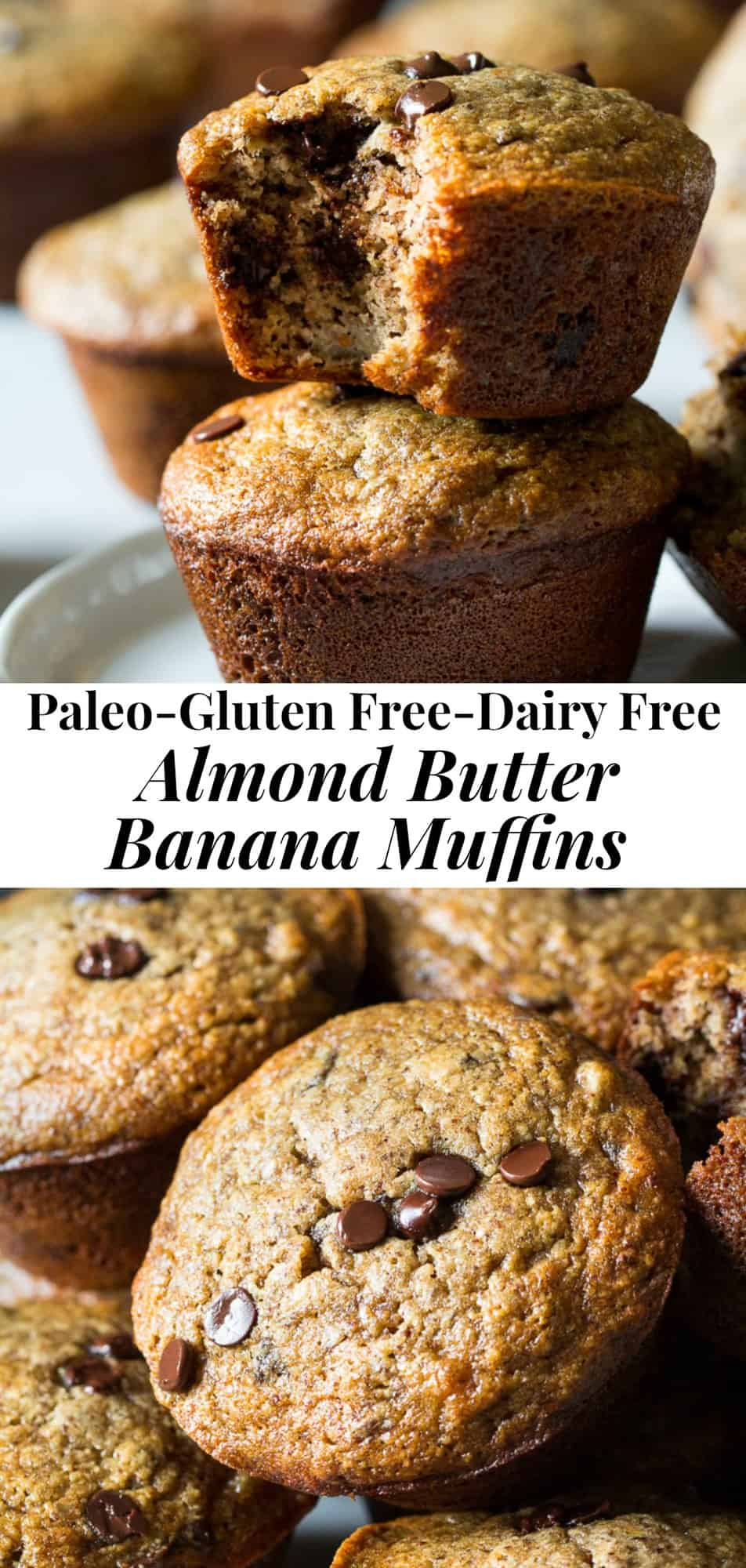 These gluten free and Paleo almond butter banana muffins will become a family favorite for breakfast and snacks! Made with almond flour and flaxseed, these are healthy, kid friendly and perfect for your favorite mix-ins.  #paleo #cleaneating #glutenfree