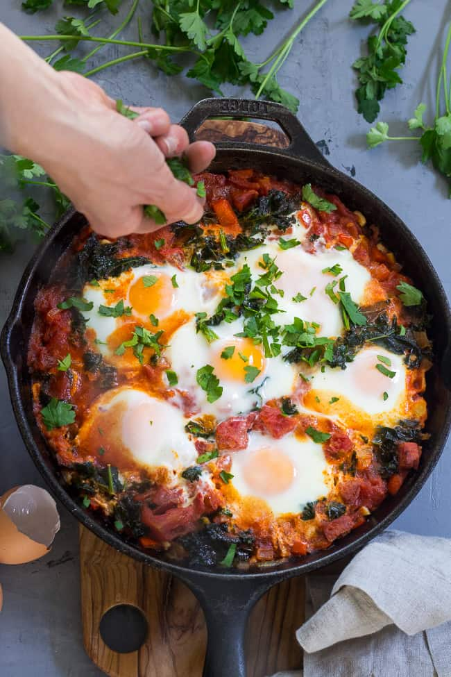 Shakshuka with Kale and Sausage {Paleo & Whole30}