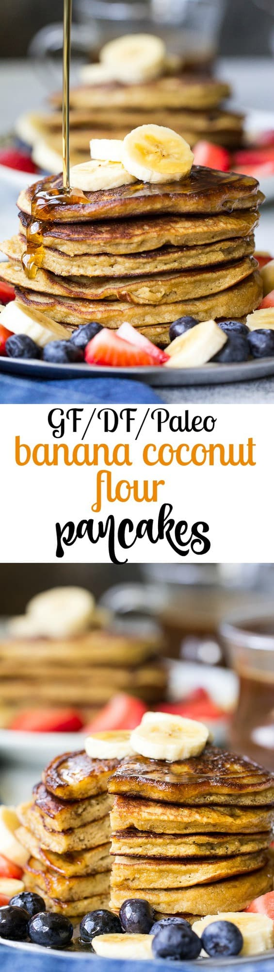 These Paleo banana coconut flour pancakes are so perfectly fluffy, moist and sweet that you won't believe they're grain free, dairy free, nut free and refined sugar free! Your family's paleo breakfast just got a delicious addition!