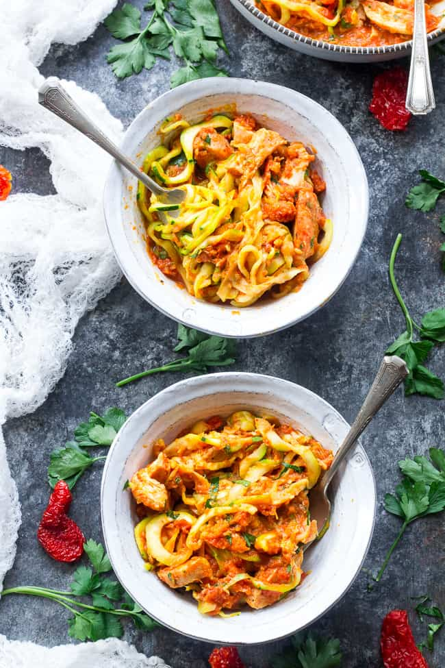 Zucchini pasta is tossed with a filling and flavor-packed, no cook creamy sun-dried tomato and scallion sauce plus perfectly cooked chicken. A tasty Paleo, Whole30 and low carb meal that's great hot or cold. Perfect for spring and summer!