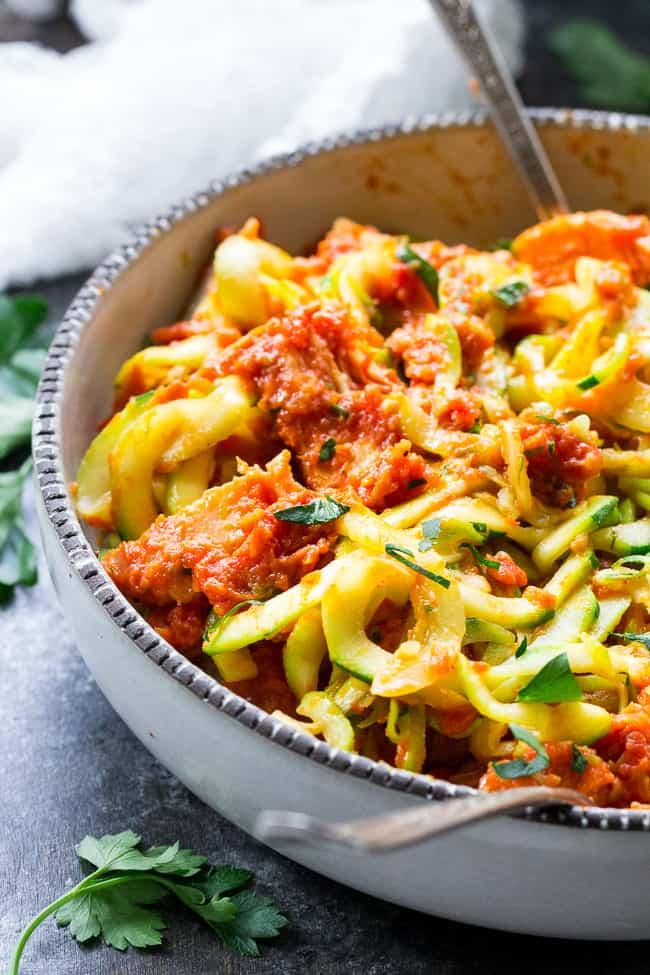 Zucchini Pasta with Sun-Dried Tomato Cream and Chicken {Whole30}
