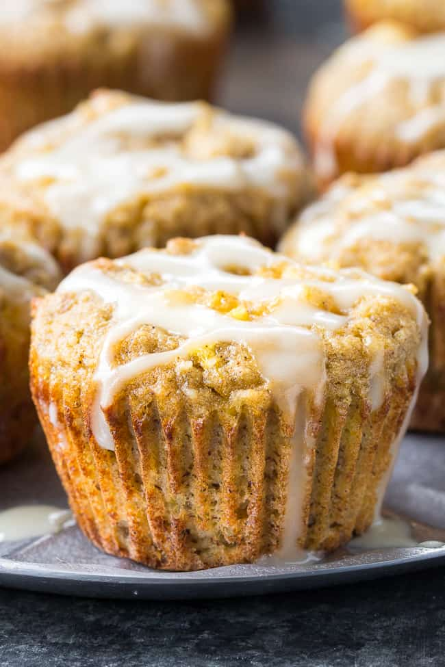 Pineapple Banana Muffins with Coconut Drizzle {Paleo, GF, DF}
