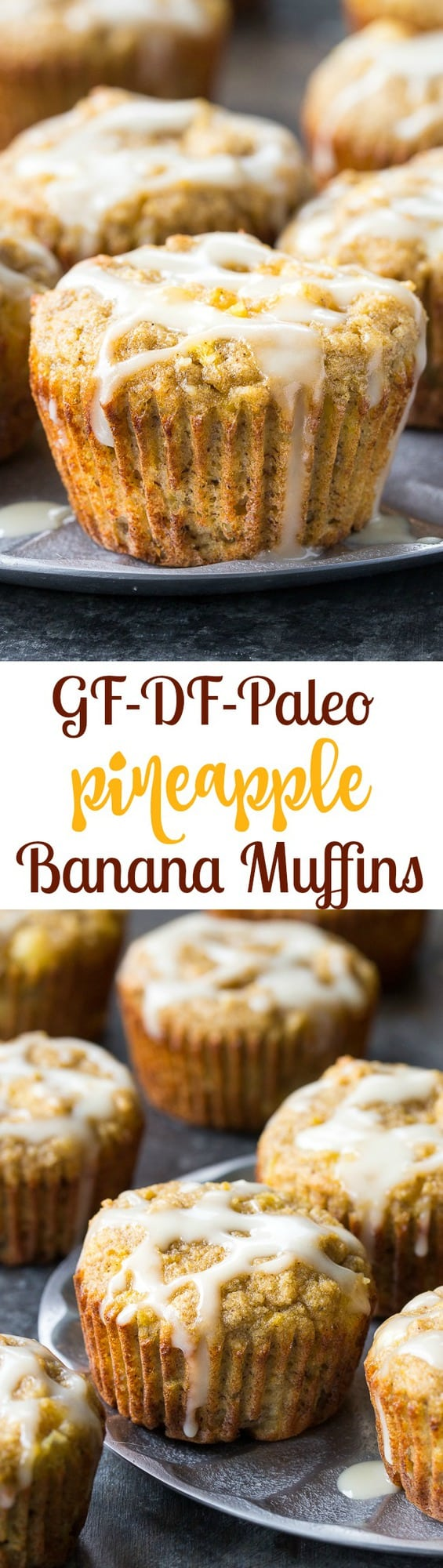 Moist and fluffy pineapple banana muffins with a coconut pineapple drizzle that tastes like a pina colada! You won't believe these tropical muffins are actually paleo, gluten-free, dairy-free and healthy! Great for breakfast or a snack and kid approved too!