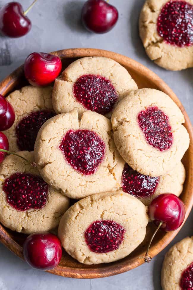 Lemon Almond Thumbprint Cookies with Cherry Chia Jam {Paleo & Vegan}