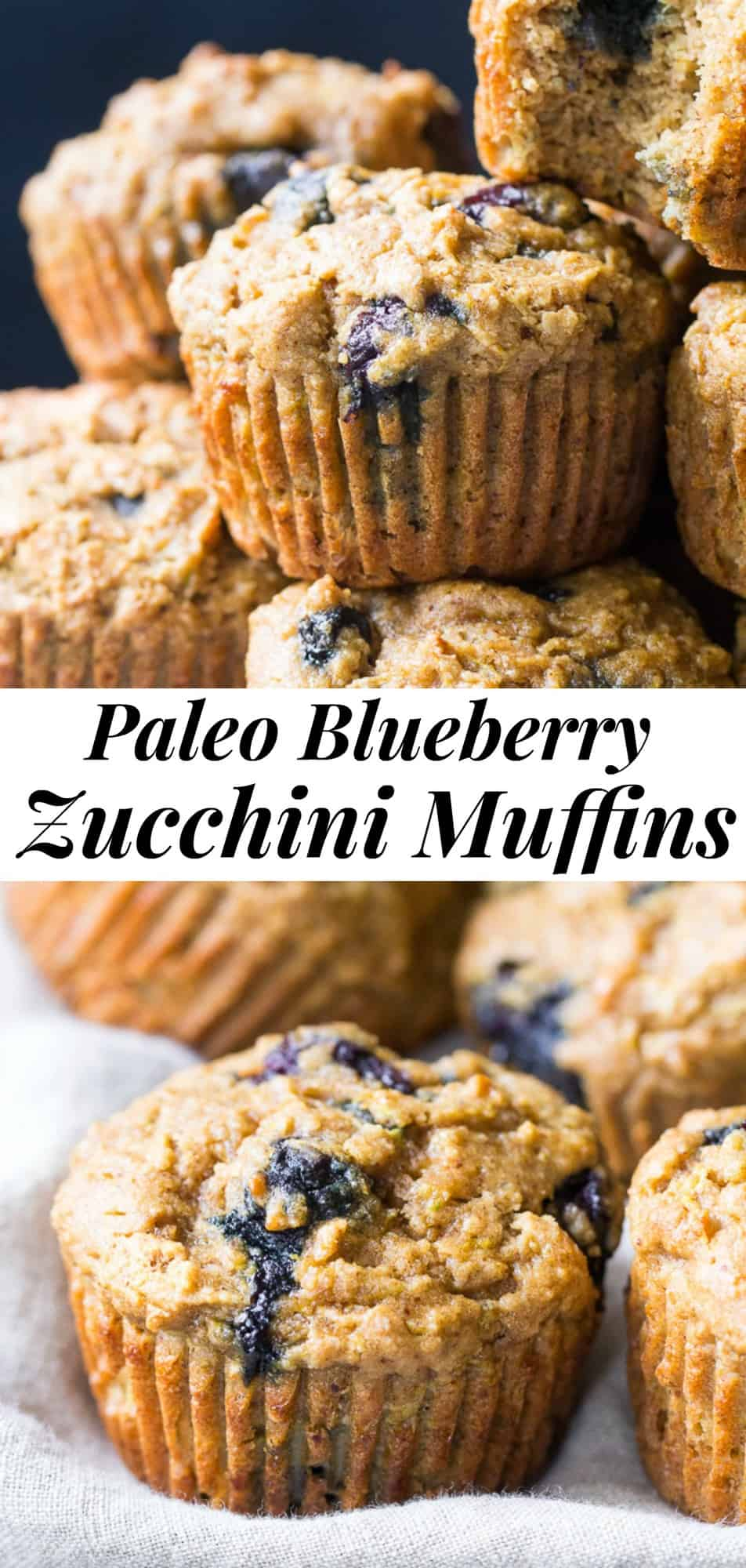 Tender, moist and hearty paleo blueberry zucchini muffins that everyone will love! The right combination of grain free flours gives them classic texture and unrefined coconut sugar adds the right amount of sweetness. Gluten free, dairy free, kid approved and great for healthy breakfasts, brunches and snacks. #paleo #glutenfree #zucchini #muffins #healthy #cleaneating