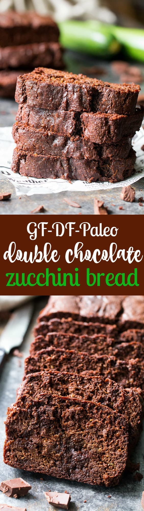 This super moist and rich double chocolate zucchini bread tastes like dessert but is secretly healthy, Paleo, free of refined sugar, grain free, gluten free and dairy free. It's kid approved and great for snacks and even breakfast!