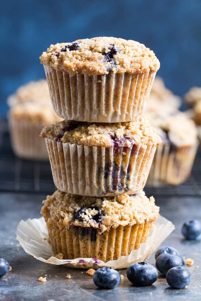 ce092d7be13b2 Paleo Blueberry Muffins with Crumb Top  Gluten-Free