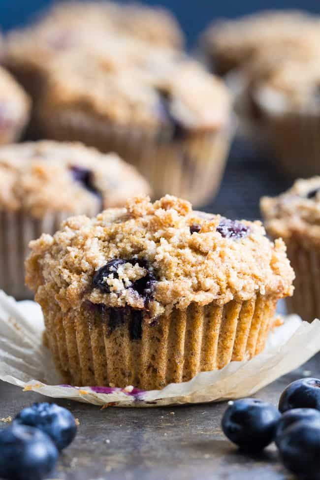 Paleo Blueberry Muffins with Crumb Top {Gluten-Free, Dairy-Free}