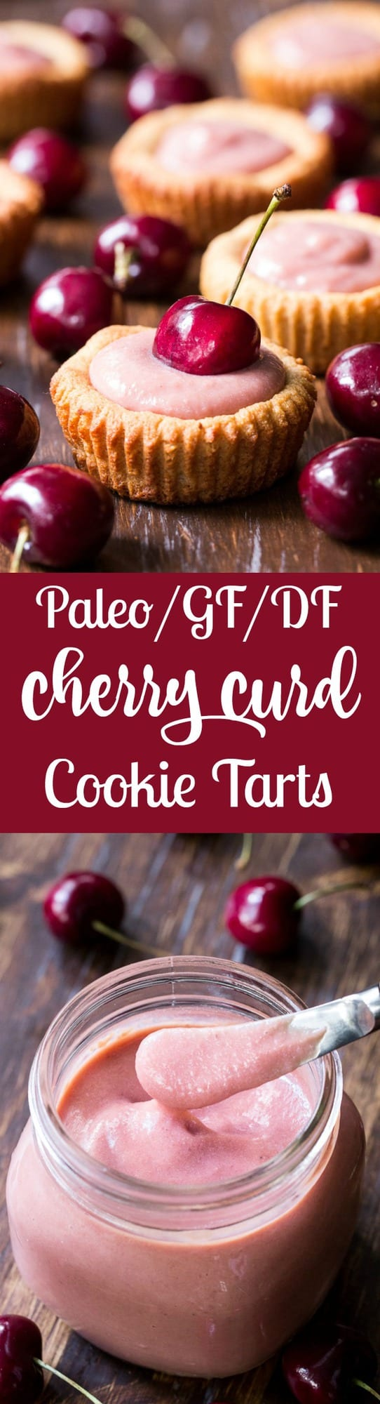 Thick, creamy and sweet cherry curd made from fresh cherries is spooned into grain free and paleo cookie tarts for a delicious, fun and secretly healthy dessert!   Dairy free, refined sugar free, gluten-free and paleo.