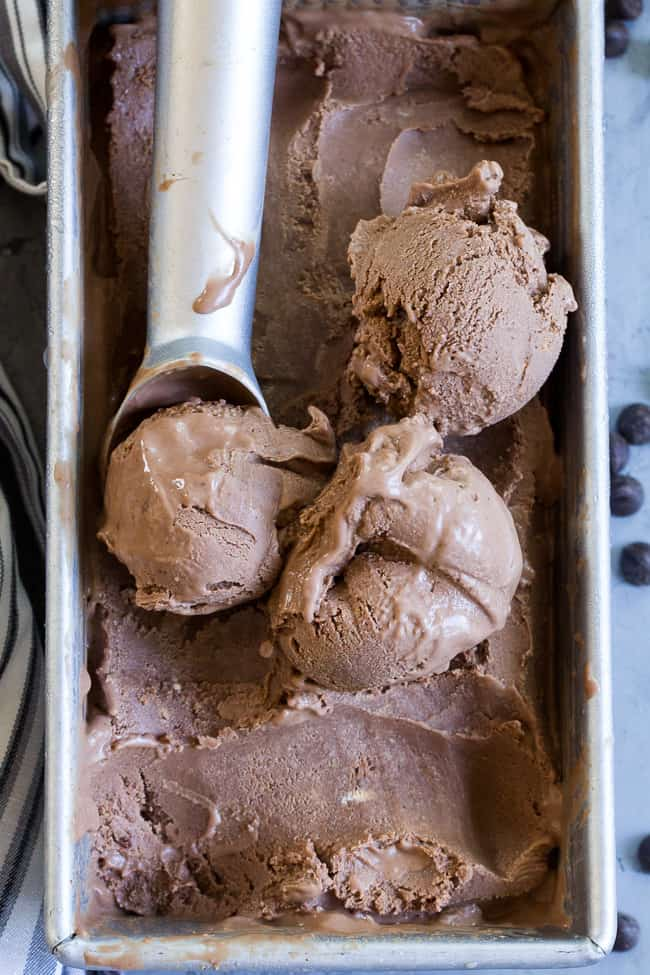 This no-churn chocolate coconut milk ice cream is so rich and creamy that you'd never guess it's vegan and paleo!  Almond butter adds creaminess to the texture and raw cacao plus pure maple syrup give this coconut milk ice cream a rich dark chocolate flavor.  Dairy-free, soy free, easy to make and so delicious!