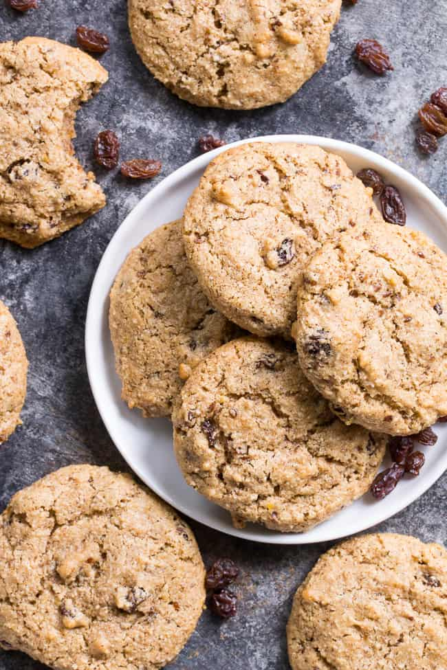 """These paleo """"oatmeal"""" raisin cookies are chewy, sweet and perfectly spiced and taste just like traditional oatmeal cookies, yet are completely grain free, vegan and paleo.  You'll fool everyone into thinking they're the real thing!"""