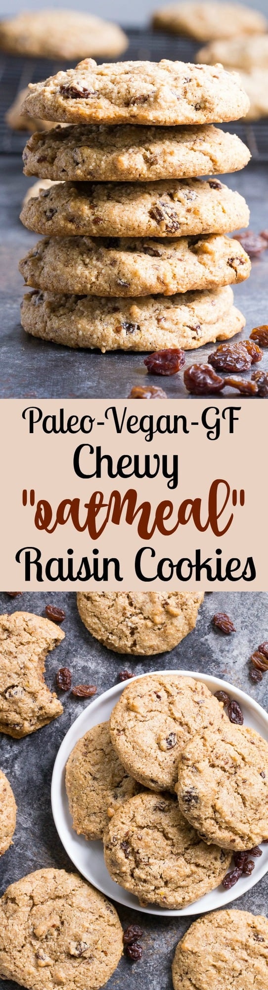 "These paleo ""oatmeal"" raisin cookies are chewy, sweet and perfectly spiced and taste just like traditional oatmeal cookies, yet are completely grain free, vegan and paleo.   You'll fool everyone into thinking they're the real thing!"