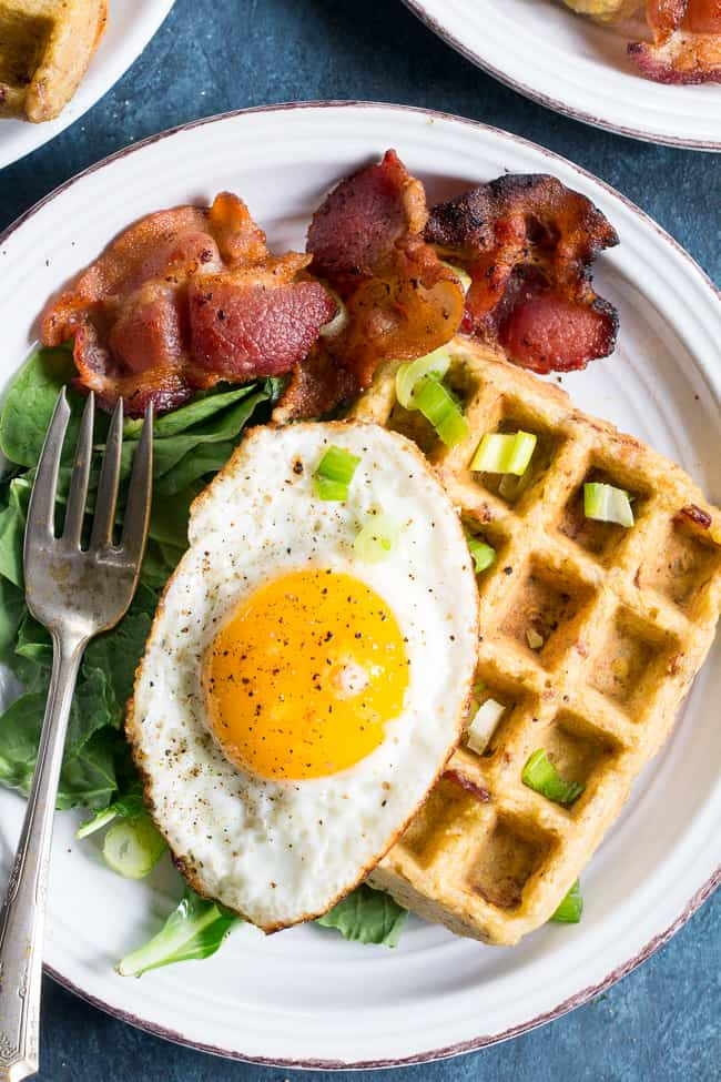 Savory Bacon Plantain Paleo Waffles {3 Ingredients!}