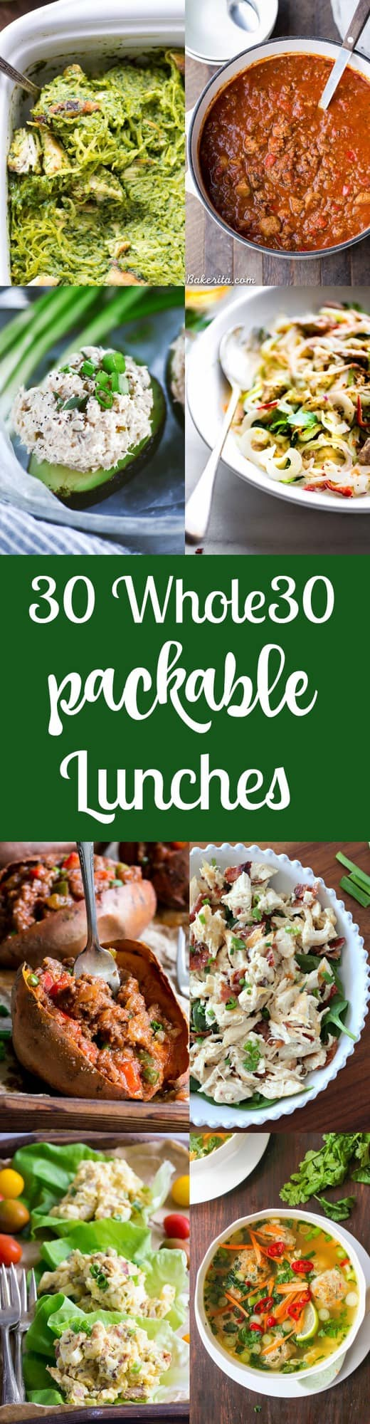 30 delicious, filling packable Paleo and Whole30 lunches for when you're on the go, plus what to pack your lunch in to keep it fresh and ready to eat!  All gluten free, dairy free, paleo and Whole30 compliant