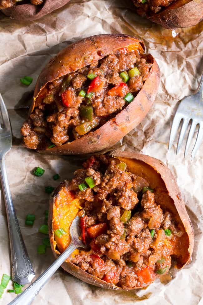 Paleo Sloppy Joe Stuffed Sweet Potatoes {Whole30}