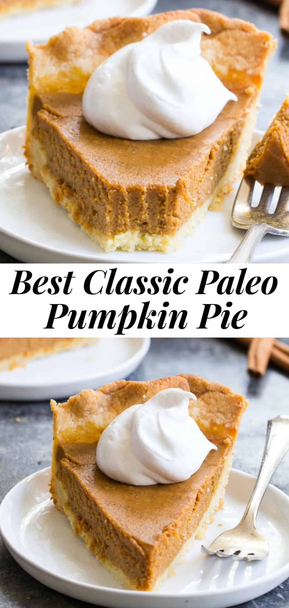 This classic Paleo Pumpkin Pie is just as delicious as any traditional pie you've made! A buttery, flaky paleo pie crust is filled with creamy dairy free pumpkin custard and baked to perfection for a delectable holiday dessert. Great with coconut whipped cream, gluten free, grain free, family approved! #paleo #cleaneating #glutenfree #pumpkinpie #thanksgiving