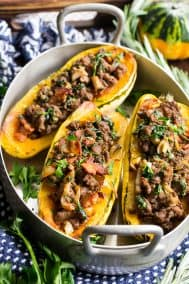 Delicata Squash with Caramelized Onion, Beef & Bacon Stuffing {Paleo, Whole30}