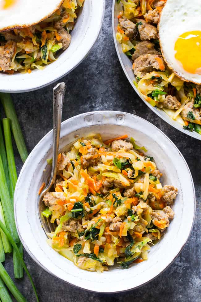 """These 30 Whole30 Recipes are tried and true favorites that will make everyone in the family happy. With soups, casseroles, meatloaf, salads, baked fries, egg free breakfasts, fried """"rice"""" and more, there's a delicious selection here to sample. Whether you're doing the Whole30 or just need heathy meal ideas, you're sure to find new favorites in this recipe roundup!"""