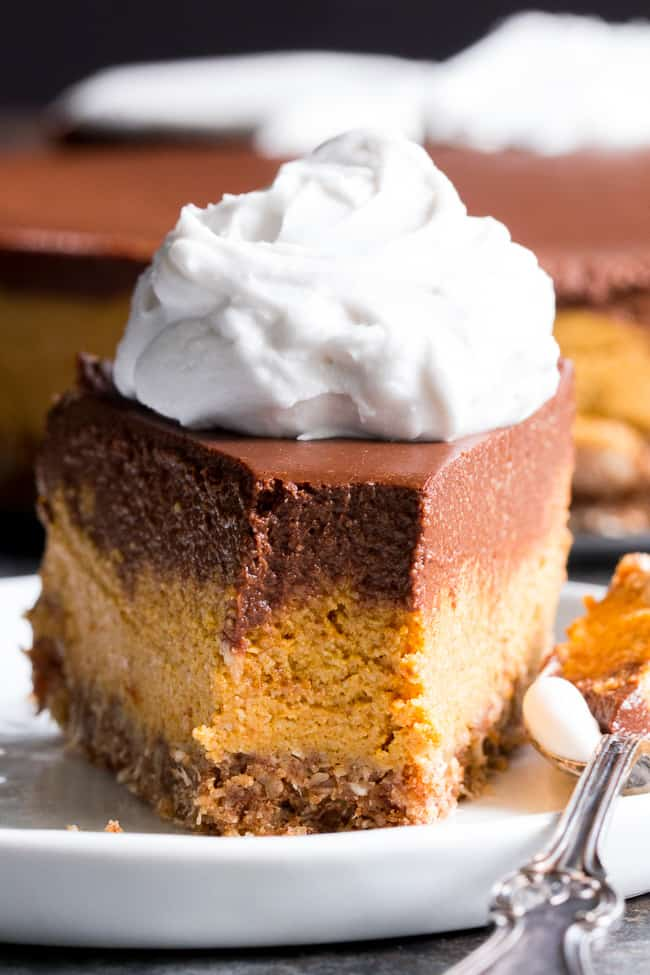 This no-bake chocolate pumpkin cashew cheesecake is a deliciously rich and creamy dessert for the holidays or any special occasion!  Two decadent vegan cheesecake layers are poured over a pecan, coconut and date crust and chilled to silky smooth perfection.  Paleo, vegan, dairy-free, gluten-free and family approved!