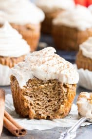 Pumpkin Cupcakes with Maple Cinnamon Frosting {Paleo, Dairy-Free}