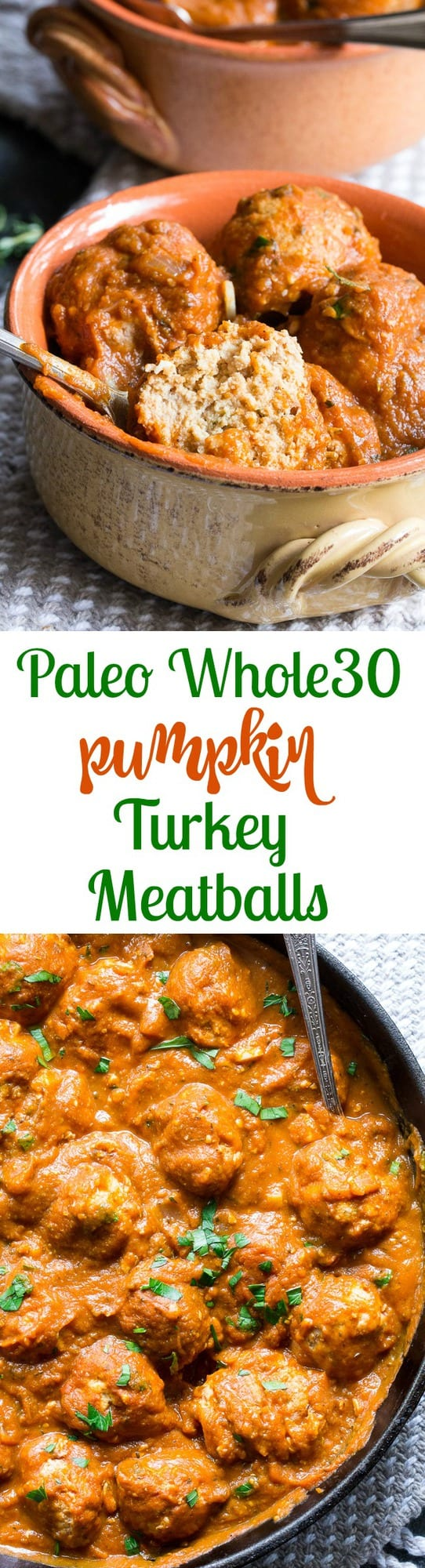 Savory pumpkin turkey meatballs in a creamy, dairy-free, paleo and Whole30 harvest tomato sauce with pumpkin and spices.  Makes a cozy, healthy and filling dinner and the leftovers are great for a next-day lunch.  Gluten-free, grain-free, kid approved and easy to make!