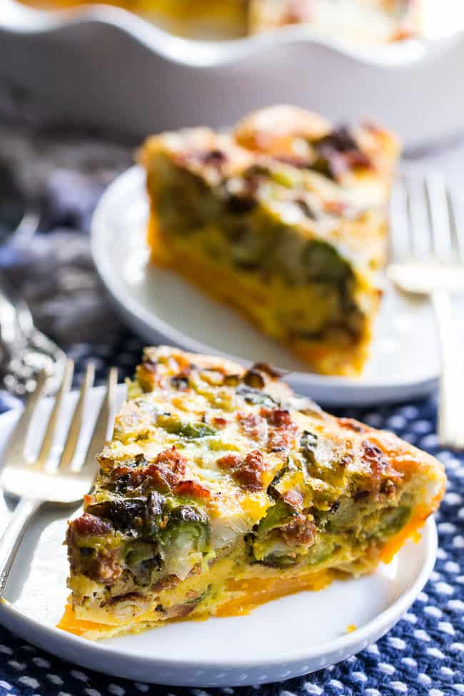 Paleo Quiche with Butternut Crust, Veggies, and Sausage {Whole30}