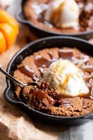 Paleo Pumpkin Snickerdoodle Skillet Cookie with Salted Caramel