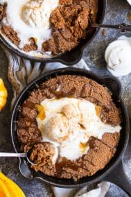 Paleo Pumpkin Snickerdoodle Skillet Cookie with Salted Caramel