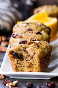 Pecan Cranberry Orange Muffins {Paleo, Dairy-Free}