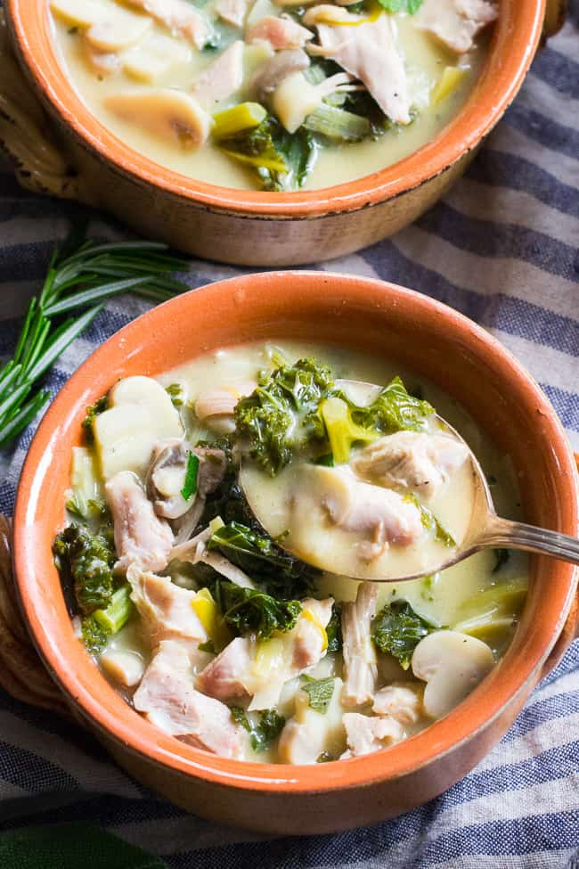 Creamy Paleo Chicken Soup with Mushrooms and Kale {Whole30}