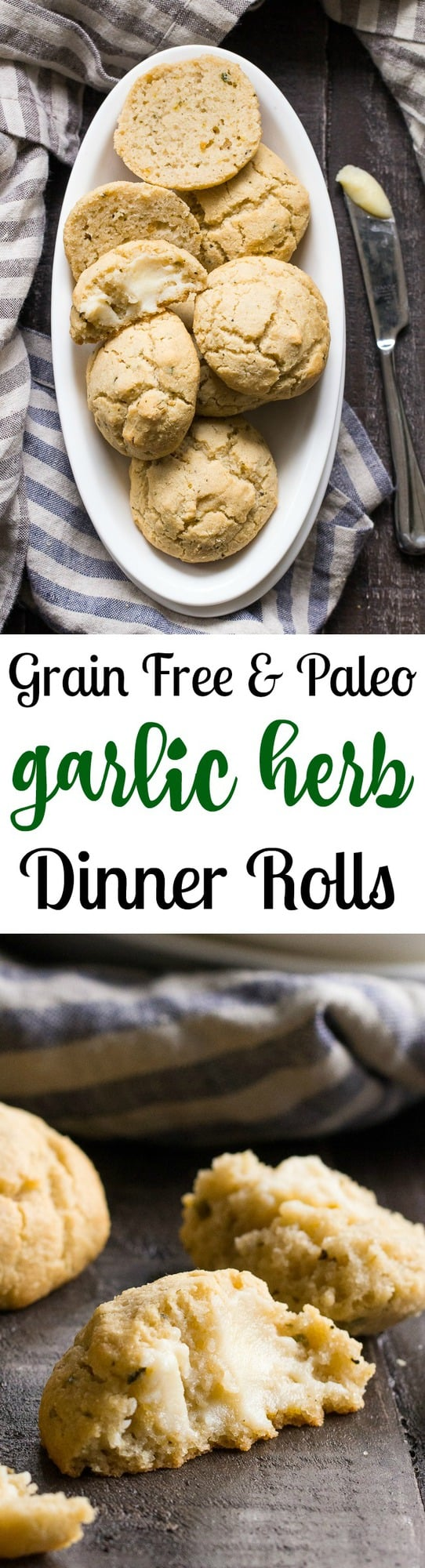 These Garlic Herb Paleo Dinner Rolls come together in one bowl and couldn't be easier to make. Crisp on the outside, soft and doughy inside, they're irresistible and family approved! Grain free with dairy free options.