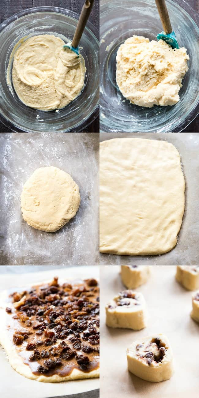 images of cinnamon rolls being prepared step by step from mixing dough to baking