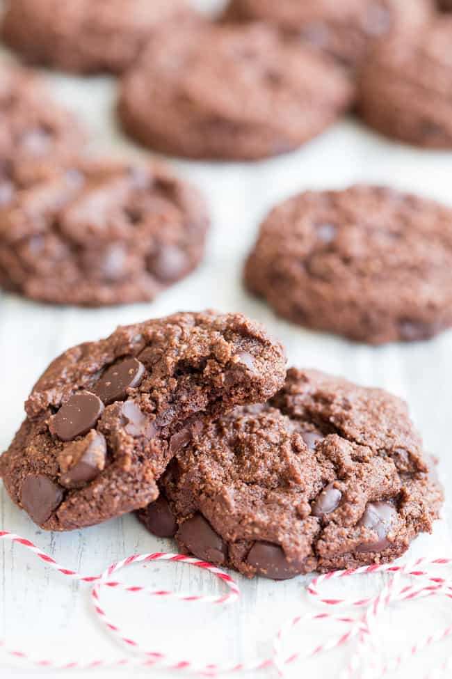 These thick and chewy double chocolate chip cookies are easy to make, packed with chocolate and made with real-food ingredients.  They're dairy-free, gluten-free, paleo, vegan, egg free and family approved!