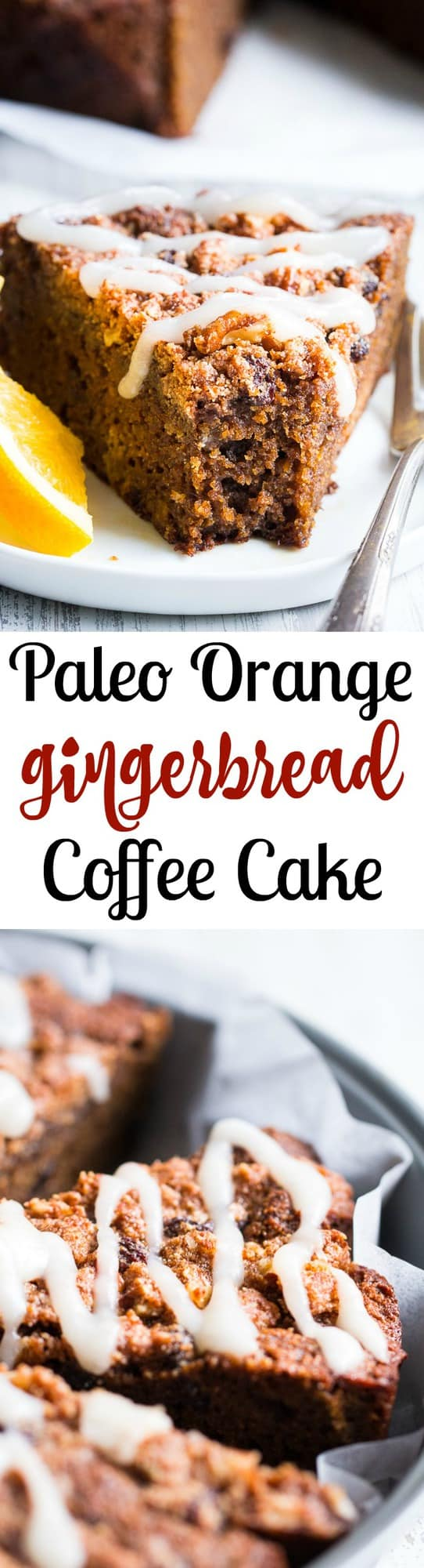 This orange gingerbread coffee cake is perfectly moist, sweet, full of sweet gingerbread spices and orange flavor. It's topped with plenty of sweet cinnamon crumbles and an optional paleo white icing. Perfect to serve for a holiday brunch, dessert, or anytime! Gluten free, paleo, dairy free, refined sugar free.