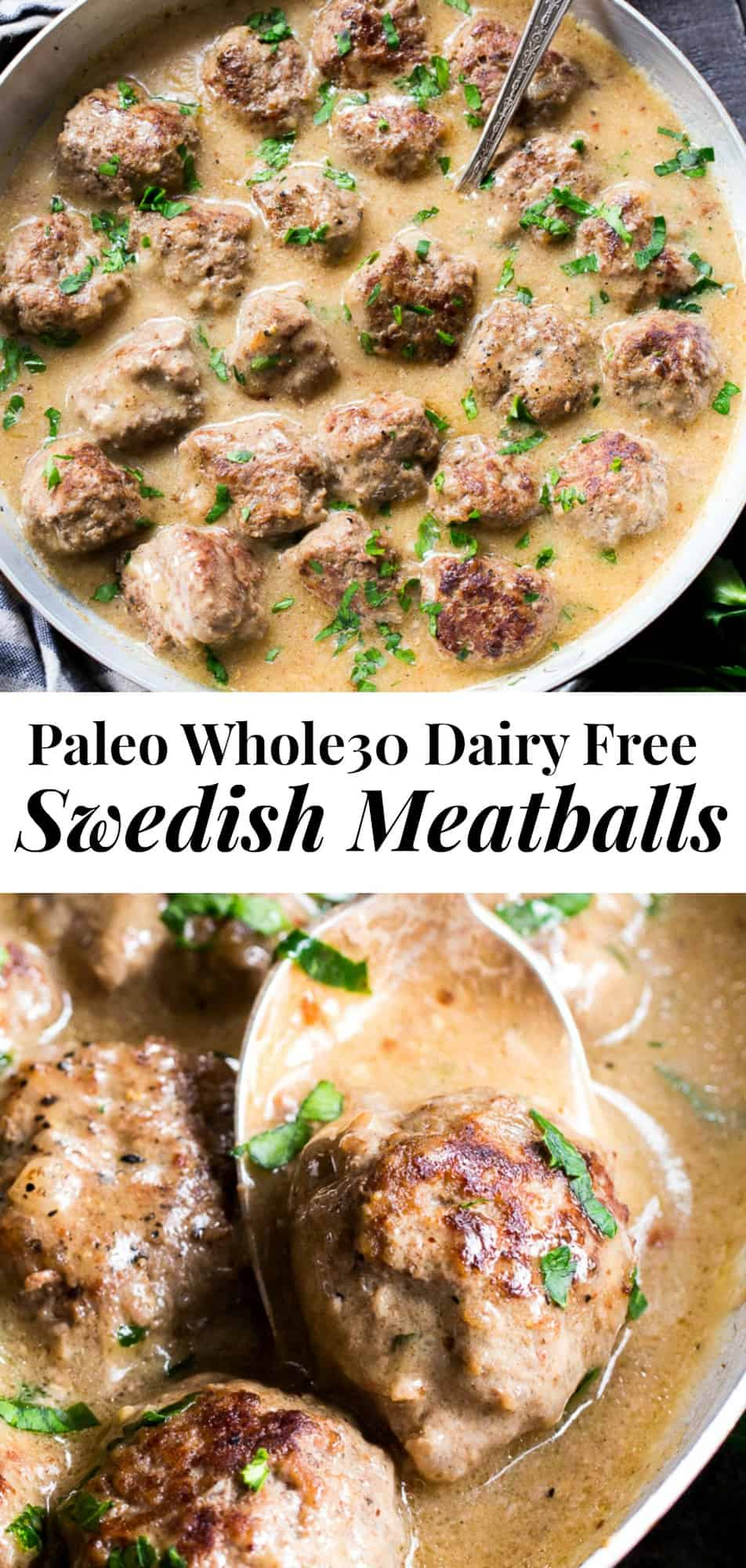 These Paleo Swedish meatballs in a creamy gravy, with dairy-free, Whole30 friendly mashed potatoes are pure comfort food for cold nights.  Made with real-food ingredients, gluten-free, dairy-free, family approved and the meatballs are made in one skillet! #whole30 #paleo #cleaneating