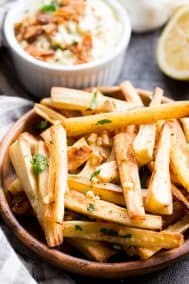 Garlic Parsnip Fries with Bacon Aioli {Paleo, Whole30}