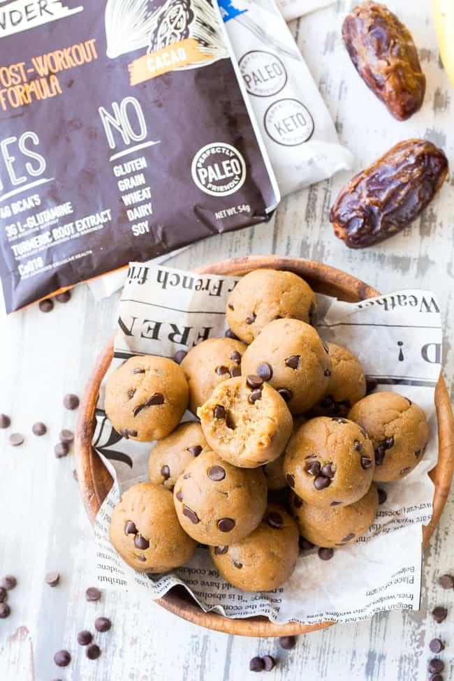 No-Bake Paleo Cookie Dough Bites with Protein